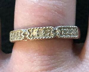 Sterling Silver Diamond Ring Band Milgrain .10 Cts Sz 8 2.5g Rhodium 925 #1362