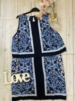Michael Kors US 8 UK 12 blue floaty summer patterned flattering layer look dress