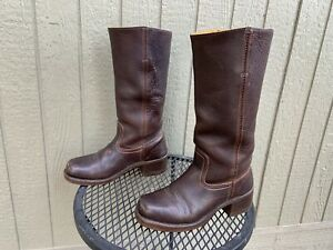 FRYE Campus Boots 8 Women's Brown Leather Biker Riding Western Work Tall Boots