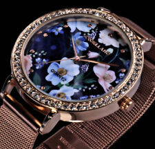 Excellanc Damen Mesh Armband Uhr Blumen Bunt Rose Gold Farben Flaches Design