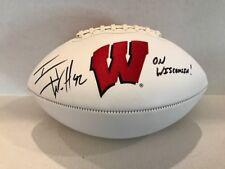 TJ Watt Signed Wisconsin White Logo Football COA Holo On Wisconsin insc Steelers