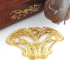 BRASS Art Nouveau Pendant / Plaque Stamping ~ Ornament Jewelry Finding (C-808) *