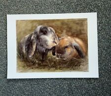 Original watercolour painting ( print),cute rabbits signed by N Hodson. Wall Art
