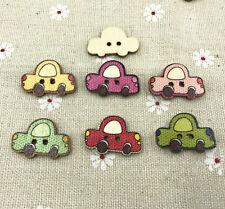 25pcs Wooden Cartoon Retro car-Shape Buttons sewing Scrapbooking decoration 25mm