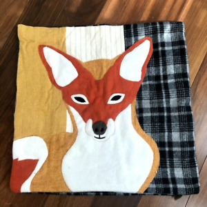 """Wool Blend Rust & Gray Patchwork Fox w/ Plaid Back LOLOI 18"""" x 18"""" Pillow COVER"""