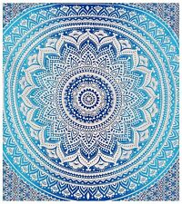 Indian blue ombre mandala tapestry cotton wall hanging king size bedspread throw