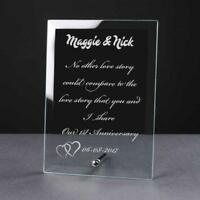Personalised Engraved 1st Anniversary Glass Plaque Elegant Gift Anni-1-1