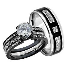 Hers Wedding Ring Sets Steel Wedding Band Black Stainless Steel Round Cz His &