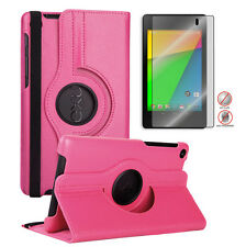 HD Google Nexus 7 2nd 360 Rotating PU Leather Case+Free Matte Screen Protector