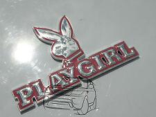 3D CHROME PINK PLAYGIRL BUNNY CAR BADGE CLIO CORSA FORD FIESTA GOLF PLAYBOY GIRL