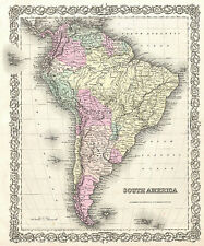 "south america world map vintage  print canvas poster fits 36"" x 24"" glass frame"
