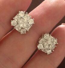 18K White Gold Diamond Cluster Stud Earrings 288