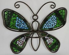 MOSAIC BUTTERFLY FLOWER POT HOLDER Metal Glass NEW Garden Wall Hanging Planter