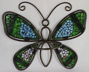 Mosaic Butterfly Flower Pot Holder Metal Glass Garden Wall Hanging Planter New