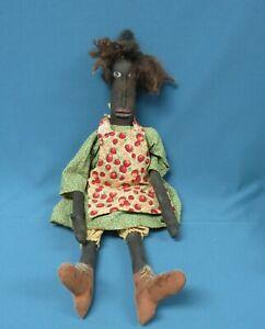 "Handmade Primitive African American Black 20"" Cloth Folk Art Doll"