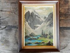 1970 Vintage Paint by Number Mountain Stream Framed 15.5 x 11.5 apx Flea Market