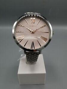 OOZOO Timepieces Damenuhr  - Leder-Armband - silberfarben / silberpink