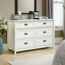 Sauder 419461 County Line Dresser With Six Drawers In Soft White Finish New