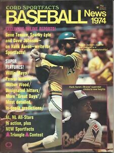 1974 Cord Sportfacts Baseball magazine,Reggie Jackson Oakland A's Hank Aaron~VG