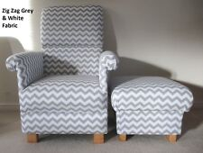 Zig Zag Grey & White Fabric Adult Chair & Footstool Nursery Lounge Chevrons New