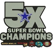 DALLAS COWBOYS PATCH 5X SUPER BOWL CHAMPIONS AMERICAS TEAM SUPERBOWL CHAMPS 8X7