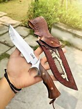 Handmade Hunting Knife VG10 Damascus Steel Folded Layers Fixed Blade Wood Handle
