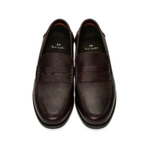 """AUTHENTIC PAUL SMITH BURGUNDY PENNY LOAFERS MOCCASINS """"TEDDY SHOES. UK 9 - EU 43"""