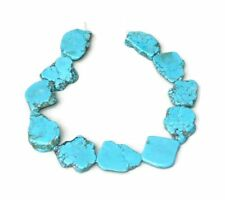 Turquoise Blue Magnesite Slab Stone Beads Pendant - Center Drilled - 30 - 35+mm