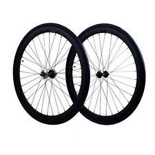 Fixie 700c Deep 45 mmFixed  Front & Rear Wheels set w Tire Tube matte black