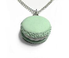 Macaron green charm pendant necklace 18 inch chain kawaii