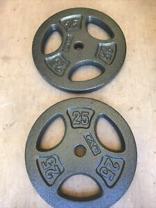 """25 LB CAP Standard Iron Weight Plates 1"""" Barbell Set 50 lbs Total Fast Shipping"""