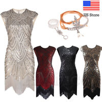 1920s Flapper Great Gatsby Dresses Cocktail Party Evening Sequins Tassels Dress