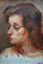 Tableau ancien, Jeune femme, Portrait, Huile sur toile, Signé à identifier
