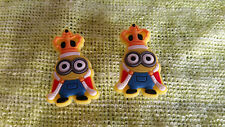 KING BOB MINION (pair) shoe charms/cake toppers!! FAST USA SHIPPING!