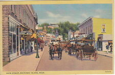 Post Office, Horse Carriages, Main st, Mackinac Island,  MI, Linen Postcard