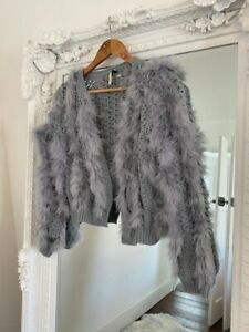 Topshop Feather Marabou Cardigan Jacket Size 10 Grey