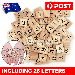 200pcs Wooden Letters Alphabet Scrabble Tiles Black Letters & Numbers For Crafts