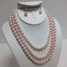 "Light Pink Faux Pearl Bead Hand Knotted 60"" Flapper Single Strand Necklace Set"