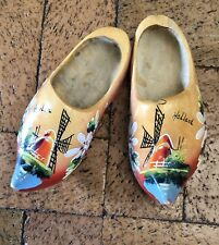 Vintage Authentic Wooden Dutch Clogs Made In Holland Child Size Windmill Scene