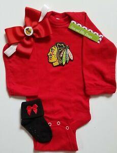 Blackhawks baby/newborn clothes girl Blackhawks baby gift girl Blackhawks baby
