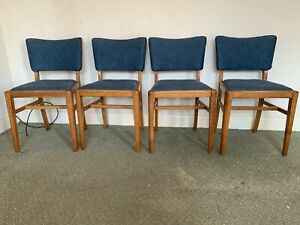 Four Vintage Oak Framed Dining Chairs Upholstered Blue Seats Retro Wooden Old