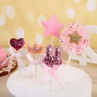 5pcs/set Pink Star Heart Crown Birthday Cake Topper Cupcakes Dessert Decorations