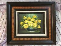 Vintage Framed Oil on Board Yellow Rose Florals in a Vase Signed Artist Wells