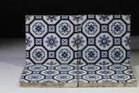 Antique Reclaimed Mintons China Works, Stoke On Trent, Blue & White Tiles x4