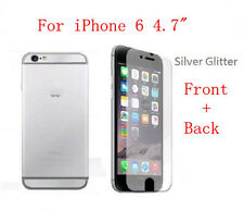 Front & Back Silver Diamond Sparkle Glitter Screen Protector For iPhone 6 4.7""