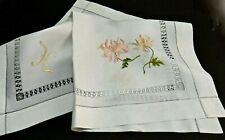 "Society Silk Embroidery Linen Teacloth - 35""x34"" - ""H"" Mono, Lace Drawnwork Vtg."
