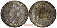 Bolivia Charles IIII Silver 1803 PTS PJ 1 Real  Mintage-143,000 aUNC Toned KM#70