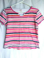 Anne Klein Sport White Pink  Petite Size Striped V-neck Short Sleeve Top PL