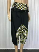 ** URBAN EMPIRE ** Sz S (8) Black Yellow Buckle USA Harem Hip Hop Pants - (B157)