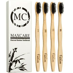 BAMBOO TOOTHBRUSH CHARCOAL ACTIVATED BRISTLE 4 PACK - NATURAL ORGANIC TOOTHBRUSH